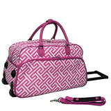 World Traveler Greek Key 21-inch Rolling Duffle Bag, Fuchsia White Greek Key