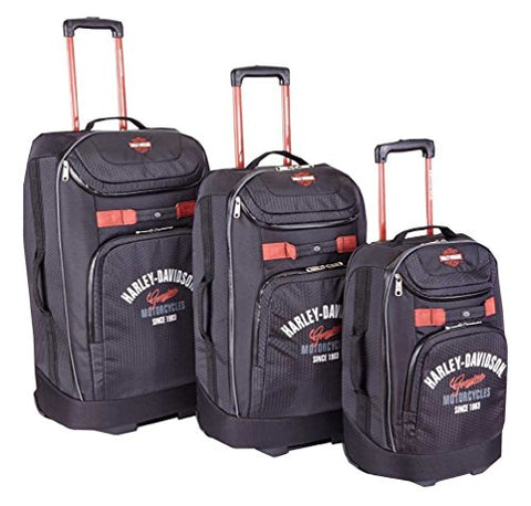 Harley-Davidson 3 Piece Luggage Set Tail Of The Dragon Pullman Wheeling Black
