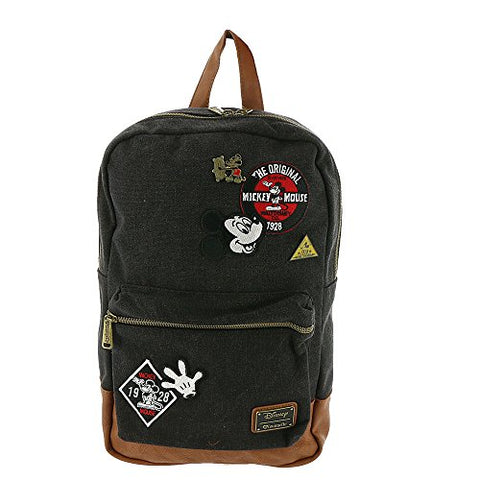Loungefly Mickey Mouse Patches Denim Backpack (One Size, Black)