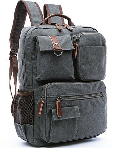 Aidonger Vintage Canvas Mens School Backpack Laptop Backpack (Dark Blue)