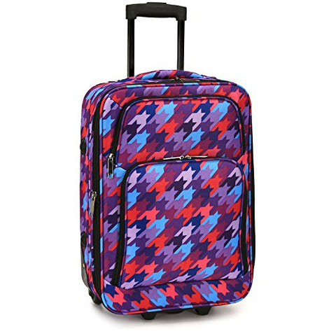Elite Luggage Houndstooth Carry-on Rolling Luggage, Multi-color