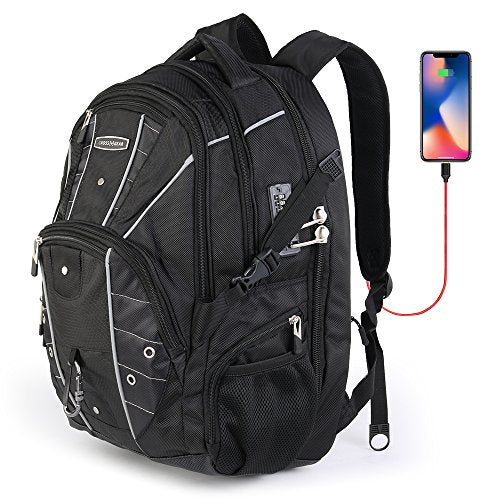 Cross Gear TSA Laptop Backpack with USB Charging Port and Combination Lock- Fits Most 17.3 Inch