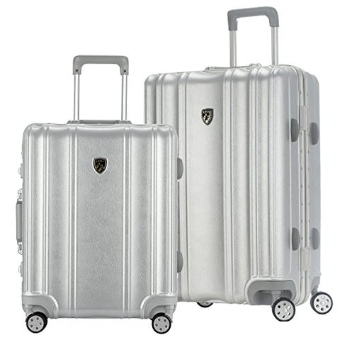 "TPRC 2 Piece ""Donna Collection"" Surdy Aluminum Frame, WIDE-BODY, Color-Coordinated Accented Luggage with Dual TSA Locks Includes 28"" Suitcase and 20"" Carry-On Luggage, Silver Color Option"