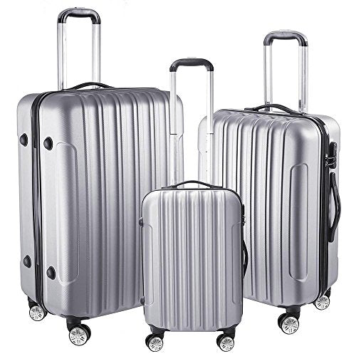 "Aw 3 Piece Luggage Set 20"" 24"" 28"" Silver Rolling Travel Case Lockable Abs Suitcase Trip"