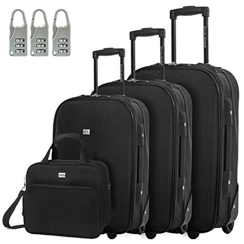 Davidjones Vintage Print 4 Piece Luggage Set-Black