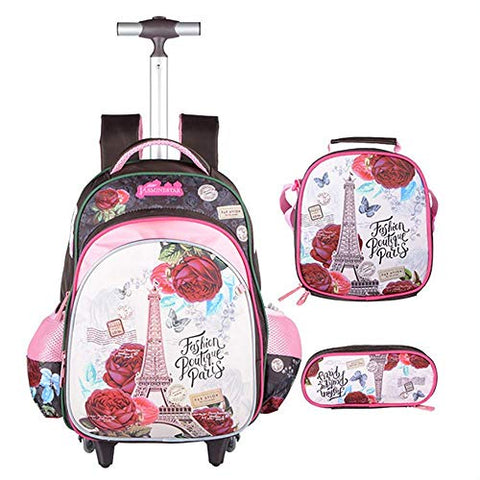 School Bag with Wheels YUB Rolling Backpacks Luggage for Boys and Girls Six Wheels