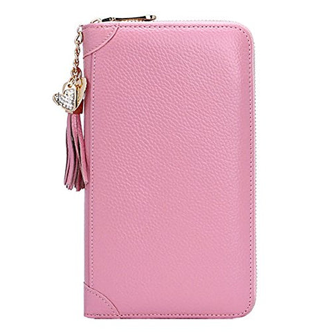 BOBILIKE Genuine Leather Credit Card Holder Case Zip Around Wallet Purse for Women Pink
