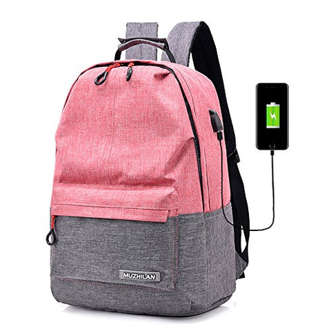 2-FNS School Backpacks Lightweight Canvas Travel Laptop Backpack Student Backpack with USB Charging