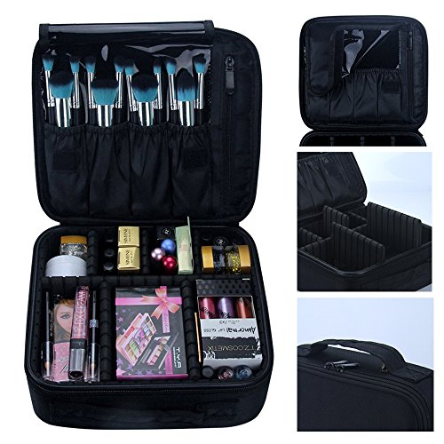 Travelmall Makeup Train Case Professional Portable Makeup Cosmetic Bag Make Up Artist Organizer Compact size Travel Organizer for Cosmetics Electronics Accessories