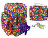 Jelly Beans Large Backpack, Lunch Tote & Keychain Multi-Pack Book Bag, Lunchbox