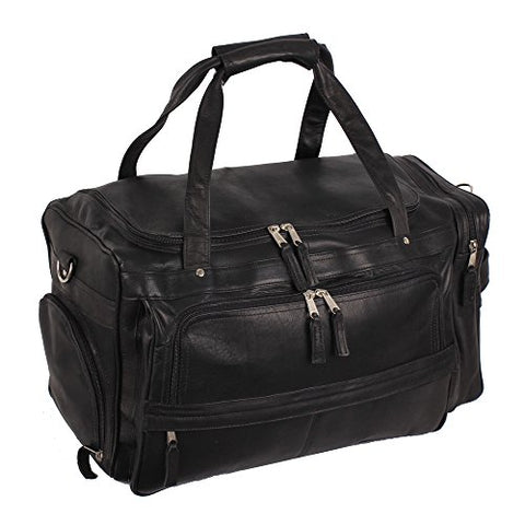 Latico Leathers Berkeley Bag, Black, Easy Entry Travel Bag For All Occasions, Adjustable Duffel