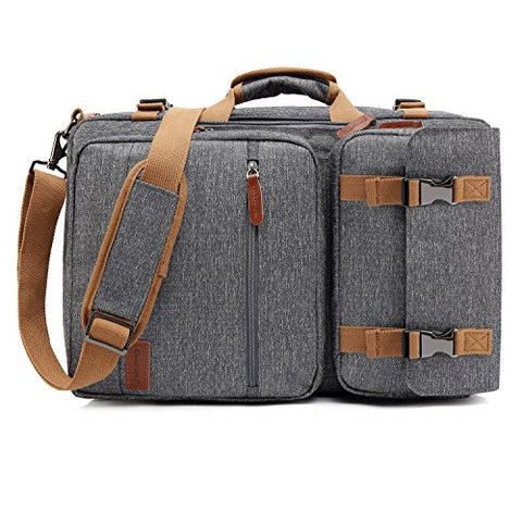 CoolBELL Convertible Briefcase Backpack Messenger Bag Shoulder Bag Laptop Case Business Briefcase Travel Rucksack Multi-Functional Handbag Fits 17.3 Inch Laptop for Men/Women (Grey)