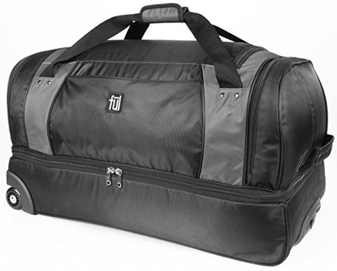 ful Xpedition 30in Rolling Duffel Bag, Retractable Pull Handle, Black/Grey, One Size
