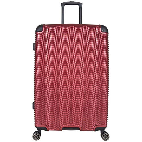 "Kenneth Cole Reaction Wave Rush 28"" Lightweight Hardside PET 8-Wheel Spinner Expandable Checked Suitcase, Warm Red"