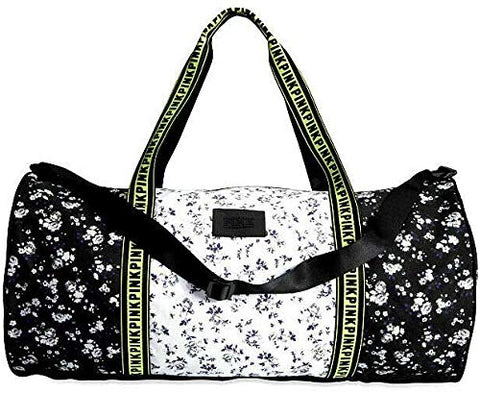 Victoria's Secret PINK Travel Duffle Bag Black White Neon Floral
