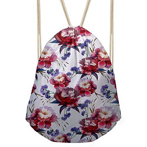 Doginthehole Floral Design Backpack Headphones Coin Purse Wallet Drawstring Bags