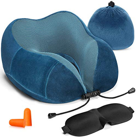 HOMIEE Travel Pillow, Neck Support Memory Foam Cushion Essentials with Sleep Mask, Earplugs -Build in Pouch and Extra Pocket, Ideal for Travelling and Flights
