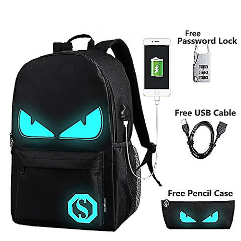 Anime Luminous Backpack Noctilucent School Bags Daypack Usb Chargeing Port Laptop Bag Handbag For