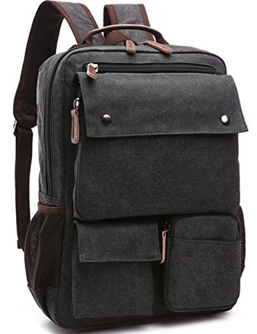 Aidonger Vintage Canvas Mens School Backpack Laptop Backpack (Black)