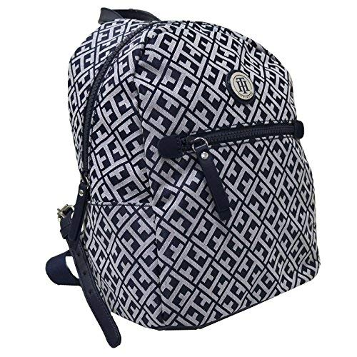 Tommy Hilfiger Womens Jacquard Backpack (Navy Blue White)