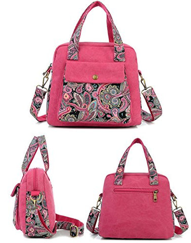 BIBITIME Bohemian Crossbody Bag for Women Handbag Floral Tote Hobo Shoulder Bag Messenger Bag Cross
