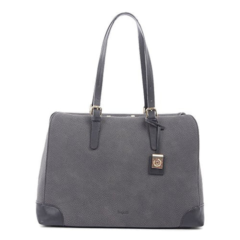 Bugatti Bilbao Ladies Tote Bag, Synthetic Nubuck Trimmed with Synthetic Leather, Grey