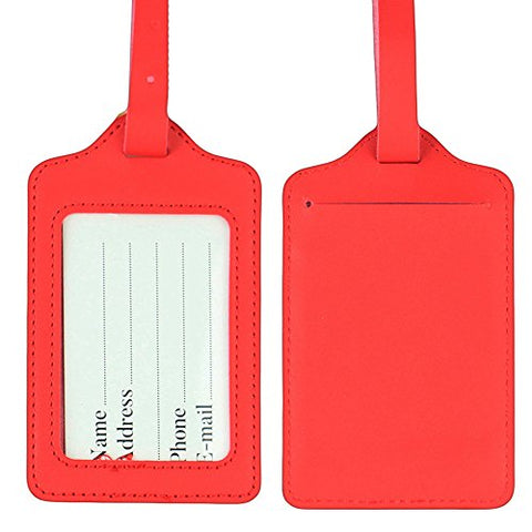 Lizimandu PU Leather Luggage Tags Suitcase Labels Bag Travel Accessories - Set of 2(Red)