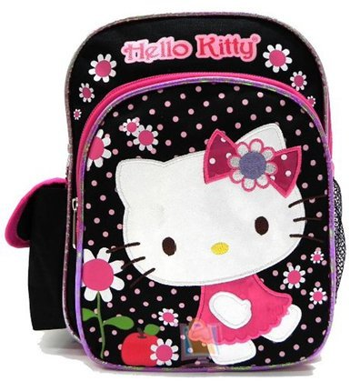 "Hello Kitty Girl'S Flowers Black/Pink 10"" Backpack 05284"