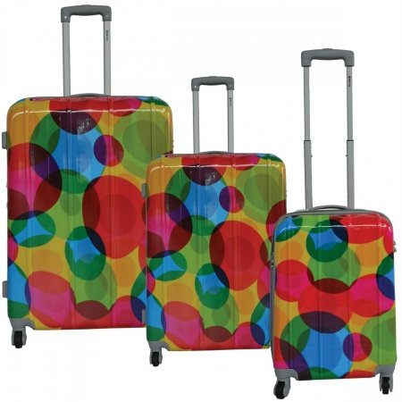 Mcbrine A713-3-Ce Eco Friendly 3 Piece Luggage Set44; Circle Pattern Print
