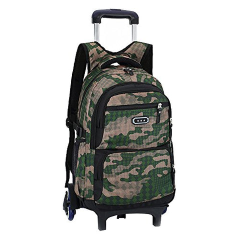 Fanci Flora Camo Waterproof Elementary Rolling Trolley School Bag Backpack Boys Camouflage