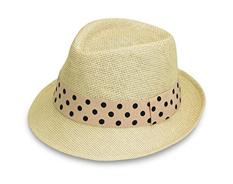 Wallaroo Women'S Gigi Sun Hat - Cotton Lining - Stylish Summer Hat, Natural With Polka-Dots