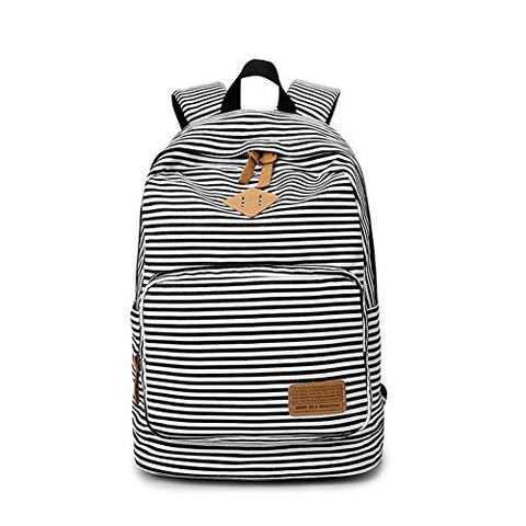 S Kaiko Stripe Canvas Backpack School Bakcpack For Women And Men School Bag Daypack Teenager