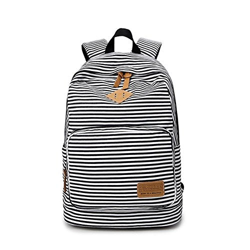 S Kaiko Stripe Canvas Backpack School Bakcpack for Women and Men School Bag Daypack Teenager Rucksack Traveling Backpack for Hiking Clambing (black)