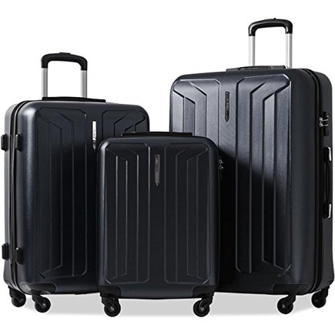 Flieks 3 Piece Luggage Set Spinner Suitcase - TSA Approved - High/Low Temperature Resistance - 20/24/28in (Black)