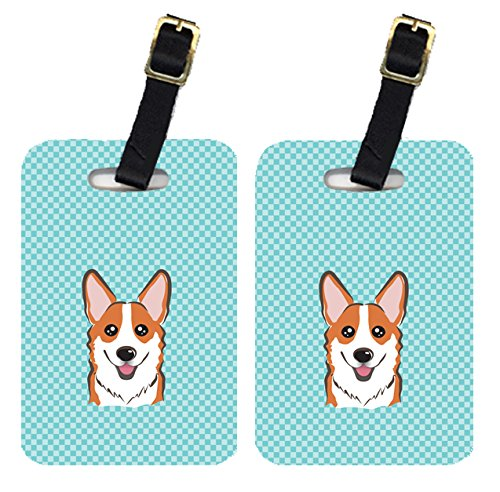 Caroline's Treasures BB1192BT Pair of Checkerboard Blue Corgi Luggage Tags , Large, multicolor