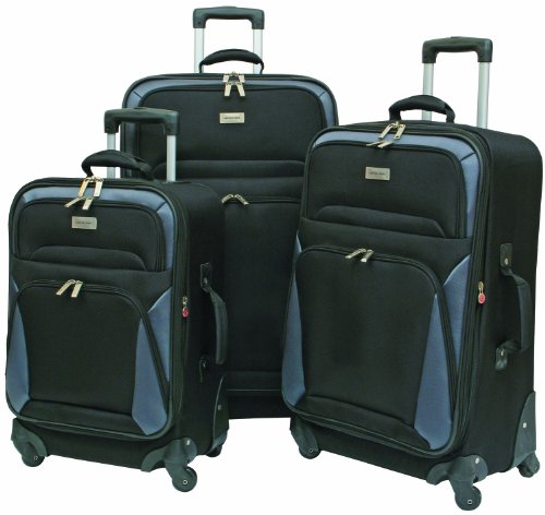 Geoffrey Beene Brentwood Spinner Wheel Collection 3 Piece Set, Black/Gray Trim, One Size