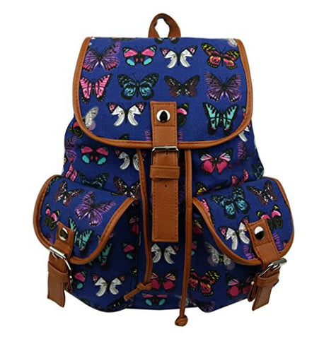 BIBITIME Backpacks Retro Canvas Backpack Rucksack Butterfly Printed Bag Blue,12.99 x 15.35 x 5.91