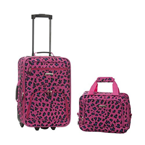 Rockland Rio Upright Carry-On & Tote 2-Piece Luggage Set - Magenta Leopard