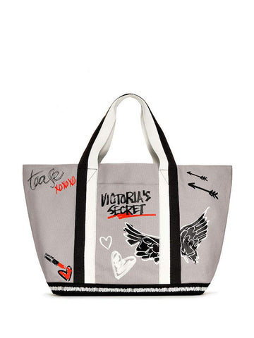 Victoria's Secret Taylor Tease Tote Bag Carryall Cream, Gray- Black & Red