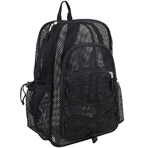 Eastsport XL Semi-Transparent Mesh Backpack with Comfort Padded Straps and Bungee, Black