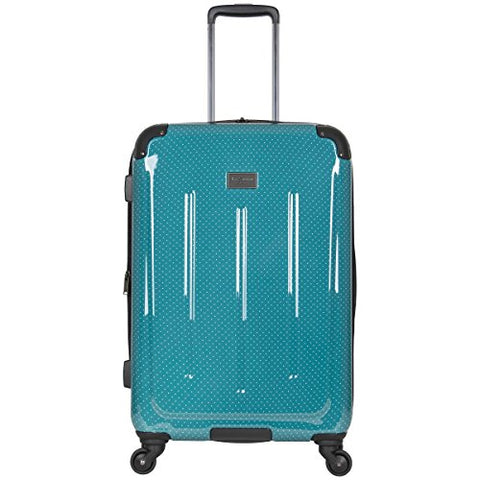 "Ben Sherman Cambridge 24"" Hardside Expandable Lightweight 4-Wheel Spinner Checked Luggage, Teal"