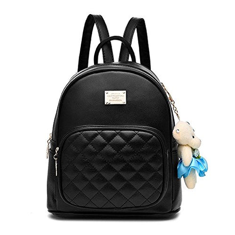 Women Fashion Cute Leather Laides Shopping Bag Casual Backpack Travle Backpack For Girls Black