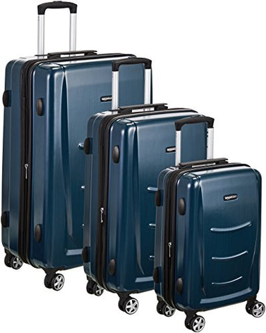 "Amazonbasics Hardshell Spinner Luggage - 3-Piece Set (20"", 24"", 28""), Navy Blue"