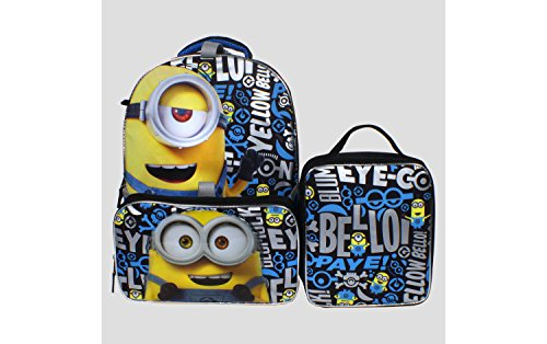 "Despicable Me Big Boy's Despicable Me 16"" Backpack, Lunch Tote, Pencil Case Accessory, Black, 16 Inches"
