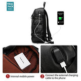 Samaz Backpack PU Leather Bag with USB Charging Port College Student School Backpack with Earphone Hole Waterproof Laptop Bag