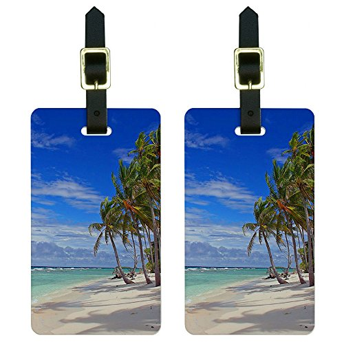 Graphics & More Tropical Beach-Island Sky Clouds Vacation Luggage Tags Suitcase Id, White