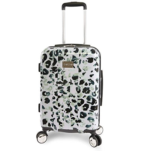 "BEBE Women's Abigail 21"" Hardside Carry-on Spinner Luggage, Winter Leopard"