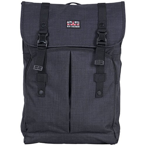 "Ben Sherman Heathered Polyester Dual Compartment Flapover 15"" Computer Travel Backpack, Navy, One"