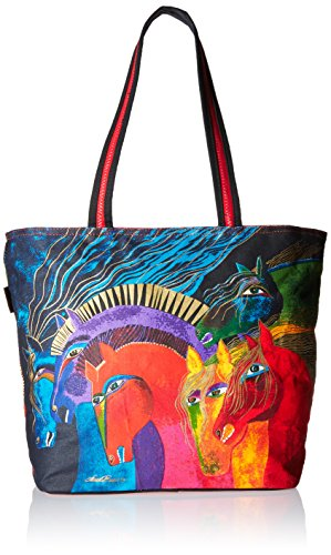 Laurel Burch Shoulder Tote Zipper Top, 19-Inch by 7-Inch by 15-Inch, Wild Horses of Fire