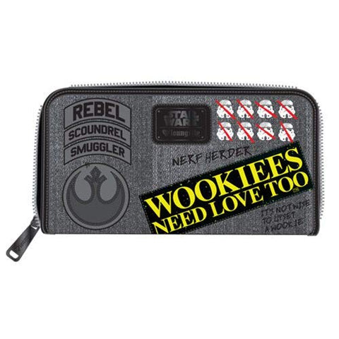 Loungefly x Star Wars Rebel Wookie Patch Zip-Around Wallet (Multi, One Size)